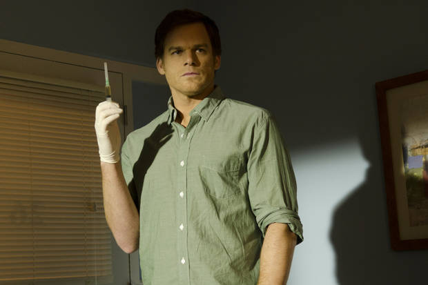 "This undated publicity image released by Showtime shows Michael C. Hall as Dexter Morgan in a scene from ""Dexter.""  The final episode airs Sunday, Sept. 22, at 9 p.m. EST on Showtime. (AP Photo/Showtime, Randy Tepper)"