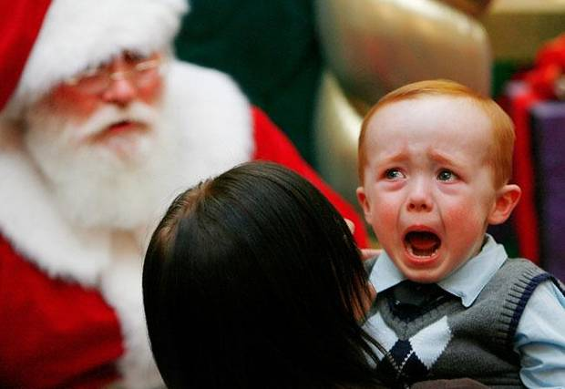 Danny Nichols breaks into tears at the thought of sitting on Santa's lap during a visit to Penn Square Mall in Oklahoma City, Dec. 12, 2008. BY JIM BECKEL, THE OKLAHOMAN