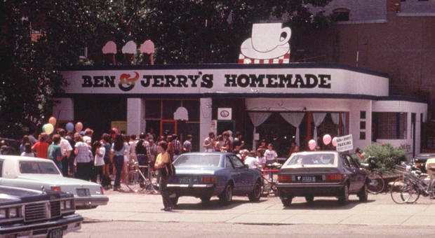 The orginal Ben & Jerry's ice cream scoop shop in a converted gas station in Burlington, Vt., shown in  this 1978 photo, turns 20 years-old Tuesday, May 5, 1998. (AP Photo)