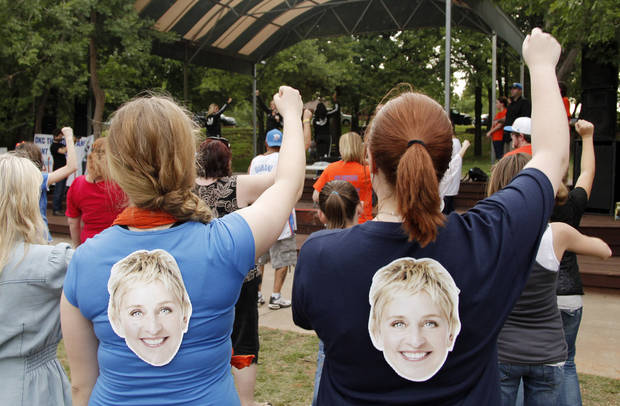 Girls with Ellen on their shirts learn the dance steps during a Thunder mob dance to send to Ellen DeGeneres at Hafer Park in Edmond Wednesday, May 18, 2011. Photo by Doug Hoke, The Oklahoman.
