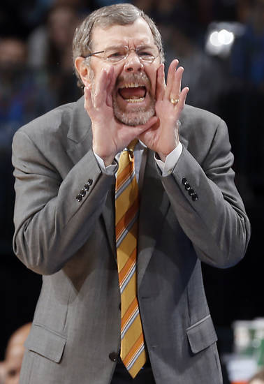 Net's coach P.J. Carlesimo yells at his team during the NBA basketball game between the Oklahoma City Thunder and the Brooklyn Nets at the Chesapeake Energy Arena on Wednesday, Jan. 2, 2013, in Oklahoma City, Okla. Photo by Chris Landsberger, The Oklahoman