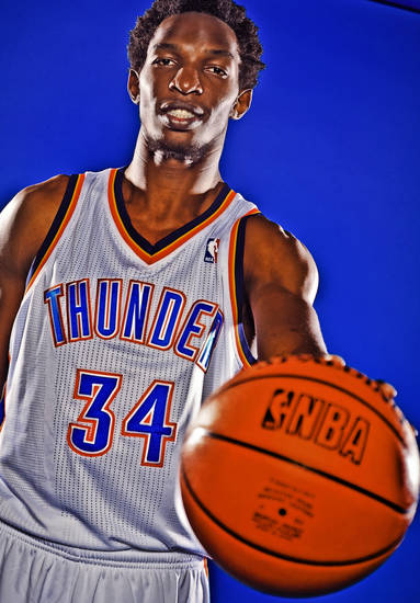 OKLAHOMA CITY THUNDER NBA BASKETBALL TEAM: Hasheem Thabeet during Thunder Media Day photos on Monday, Oct. 1, 2012, in Oklahoma City, Oklahoma.  Photo by Chris Landsberger, The Oklahoman