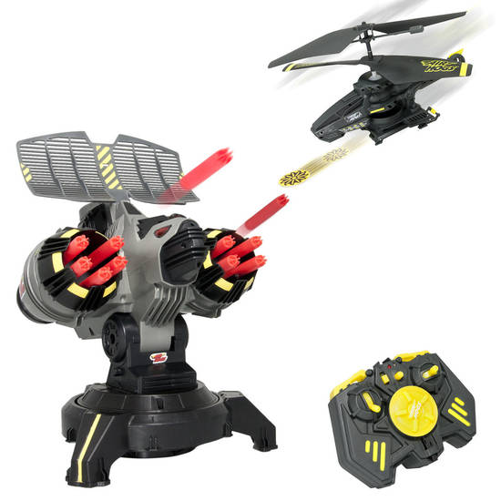 The Air Hogs RC Battle Tracker lets you stage a battle from the air in a remote-controlled helicopter and the ground, from a base console. PHOTO PROVIED. <strong></strong>