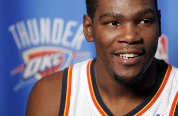 Kevin Durant answers a question during media day for the Oklahoma City Thunder at the Ford Center in downtown Oklahoma City, Monday, Sept. 27, 2010. Photo by Nate Billings, The Oklahoman
