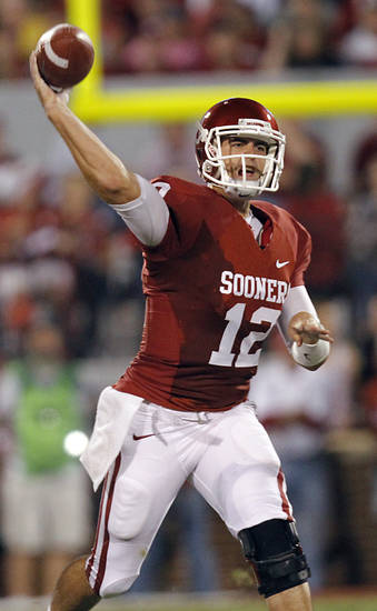 Oklahoma's Landry Jones (12) passes the ball against Missouri during the college football game between the University of Oklahoma Sooners (OU) and the University of Missouri Tigers (MU) at the Gaylord Family-Memorial Stadium on Saturday, Sept. 24, 2011, in Norman, Okla. Photo by Chris Landsberger, The Oklahoman