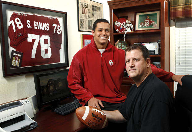 Former OU football player Scott Evans and his son, Jordan, who hopes to get a scholarship offer from the Sooners sometime soon, are photographed in the family's home in Norman on Saturday, Jan. 26, 2013.     Photo by Jim Beckel, The Oklahoman