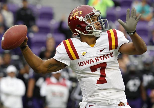 Iowa State quarterback Jared Barnett (7) passes during the first half of an NCAA college football game against TCU, Saturday, Oct. 6, 2012, in Fort Worth, Texas. (AP Photo/LM Otero)
