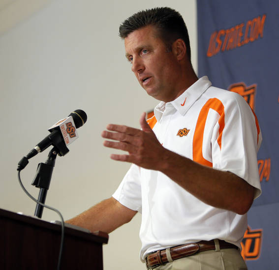 OSU head coach Mike Gundy speaks to the media during Oklahoma State University football media availability at Boone Pickens Stadium in Stillwater, Okla., Thursday, Aug. 23, 2012. Photo by Nate Billings, The Oklahoman