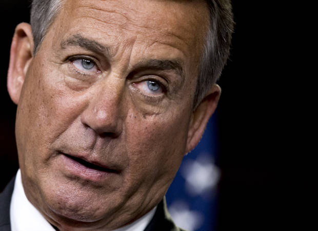 "FILE - This Nov. 29, 2012 file photo shows House Speaker John Boehner of Ohio speaking to reporters on Capitol Hill in Washington. House Republicans negotiating with President Barack Obama on avoiding the so-called fiscal cliff are proposing to increase the eligibility age for Medicare and to lower cost-of-living hikes in Social Security benefits. Boehner said the GOP proposal is a ""credible plan"" for Obama and that he hopes the administration would ""respond in a timely and responsible way."" (AP Photo/J. Scott Applewhite, File)"