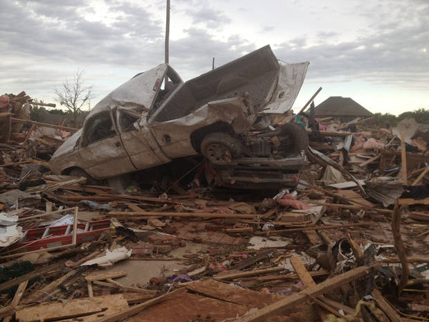Tornado damage in Moore Tuesday, May 21, 2013 - Photo by Chris Landsberger