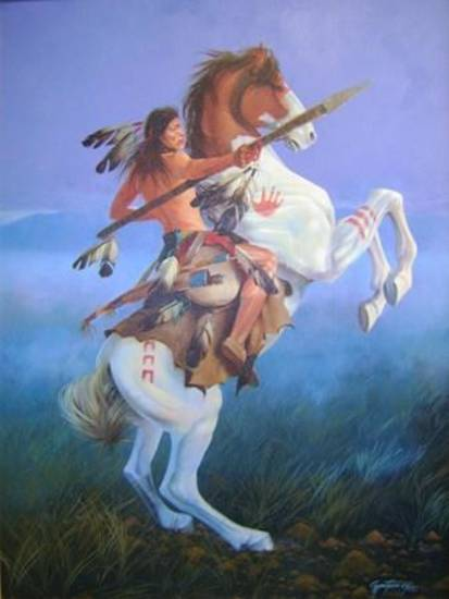 """Winds of War,""  acrylic on canvass  by Gary Montgomery (Seminole), is part of the Red Earth Museum's ""The Indian Pony"" exhibit."
