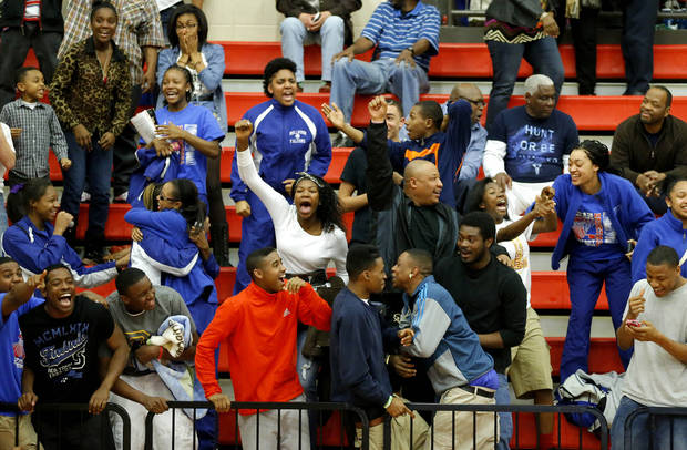 Millwood fans celebrate Millwood's win in a Class 3A boys state basketball tournament game between Hugo and Millwood at Yukon High School in Yukon, Okla., Thursday, March 7, 2013. Photo by Bryan Terry, The Oklahoman