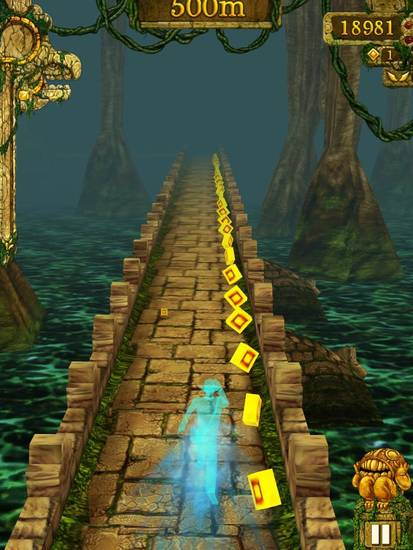 "In the mobile game ""Temple Run,"" the power-ups in the game can make the hero go super fast or avoid obstacles. The speed boost is indicated here in this screen shot from the game."