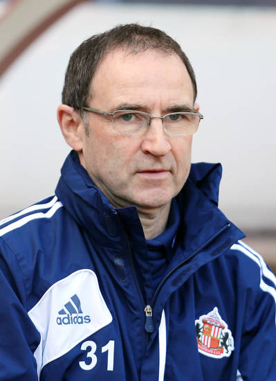 Sunderland's manager Martin O'Neill, ahead of  his team's English Premier League soccer match against Manchester United,  at the Stadium of Light, Sunderland, England, Saturday, March 30, 2013. (AP Photo/Scott Heppell)