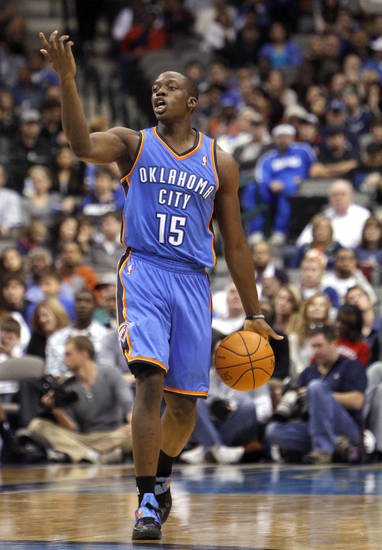 Oklahoma City's Reggie Jackson (15) calls a play during the pre season NBA game between the Dallas Mavericks and the Oklahoma City Thunder at the American Airlines Center in Dallas, Sunday, Dec. 18, 2011. Photo by Sarah Phipps, The Oklahoman