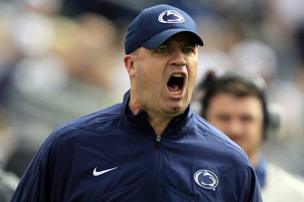 Penn State head coach Bill O'Brien yells from the sidelines during the first quarter of an NCAA college football game against Northwestern in State College, Pa., Saturday, Oct. 6, 2012. (AP Photo/Gene J. Puskar)