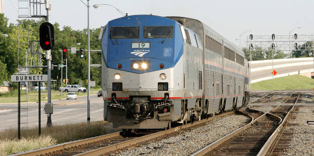 The Amtrak Heartland Flyer at SE 27 and Shields leaving Oklahoma City Wednesday morning, June 10, 2009.  Photo by Paul B. Southerland, The Oklahoman