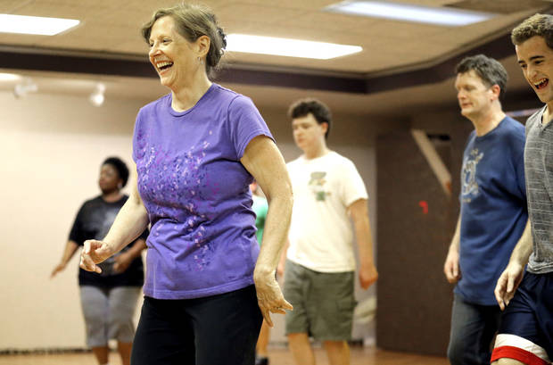 Leslie Hardin laughs as she tap dances at Poteet Theatre at St. Luke's United Methodist Church.  Photo by Sarah Phipps, The Oklahoman <strong>SARAH PHIPPS - SARAH PHIPPS</strong>