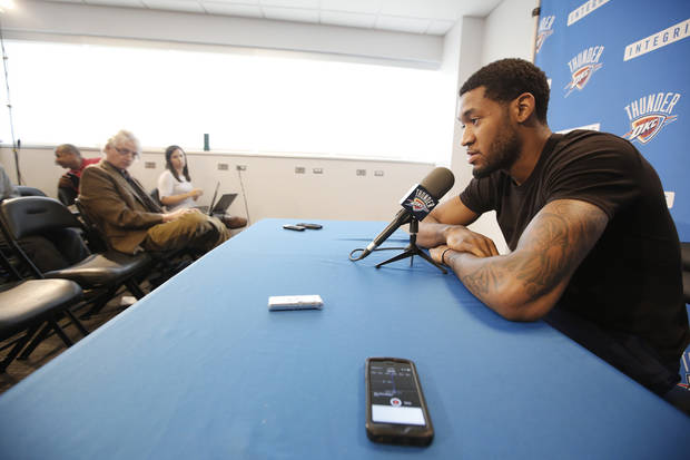 Oklahoma City Thunder's Perry Jones talks to the media during exit interviews at the teams practice facility in Oklahoma City, Monday June2, 2014. Photo By Steve Gooch, The Oklahoman
