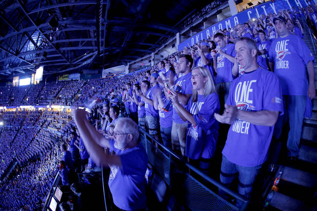 Fans cheer before Game 1 of the NBA Finals between the Oklahoma City Thunder and the Miami Heat at Chesapeake Energy Arena in Oklahoma City, Tuesday, June 12, 2012. Photo by Bryan Terry, The Oklahoman
