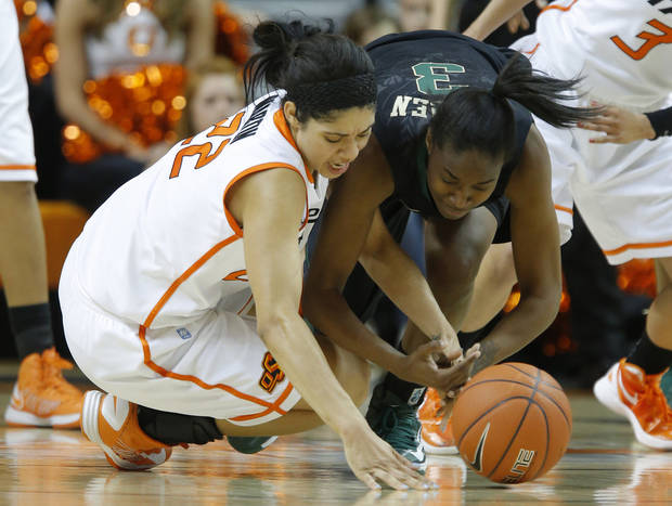 Oklahoma State's Brittney Martin (22) and Baylor's Jordan Madden (3) dive for the ball during a women's college basketball game between Oklahoma State University and Baylor at Gallagher-Iba Arena in Stillwater, Okla., Saturday, Feb. 2, 2013. Photo by Bryan Terry, The Oklahoman