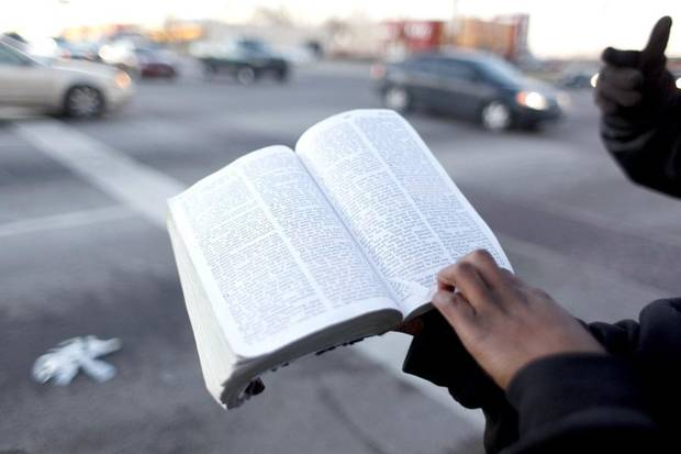 Members of Israelite Church of God in Christ preach on the corner of Martin Luther King Avenue and 23rd Street in Oklahoma City, Okla., Monday, Jan. 11, 2010. Photo by Sarah Phipps, The Oklahoman