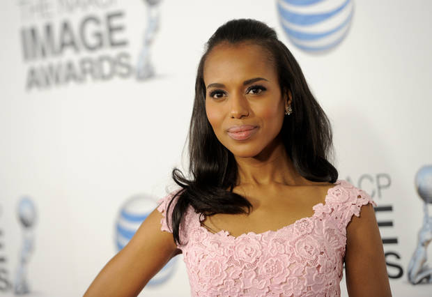 Kerry Washington arrives at the 44th Annual NAACP Image Awards at the Shrine Auditorium in Los Angeles on Friday, Feb. 1, 2013. (Photo by Chris Pizzello/Invision/AP)
