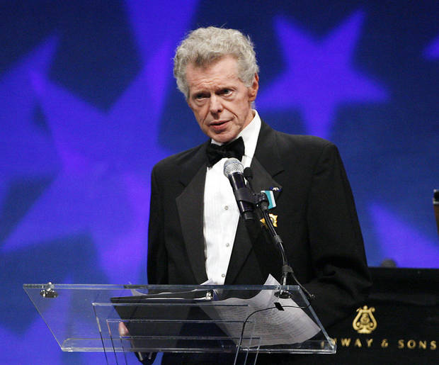 FILE - This Sept. 18, 2008 file photo shows pianist Van Cliburn at the presentation ceremony of the Liberty Medal that was presented to former President of the Soviet Union Mikhail Gorbachev in Philadelphia. Cliburn, the internationally celebrated pianist whose triumph at a 1958 Moscow competition helped thaw the Cold War and launched a spectacular career that made him the rare classical musician to enjoy rock star status  died early Wednesday, Feb. 27, 2013, at his Fort Worth home following a battle with bone cancer.  (AP Photo/Tom Mihalek, file)