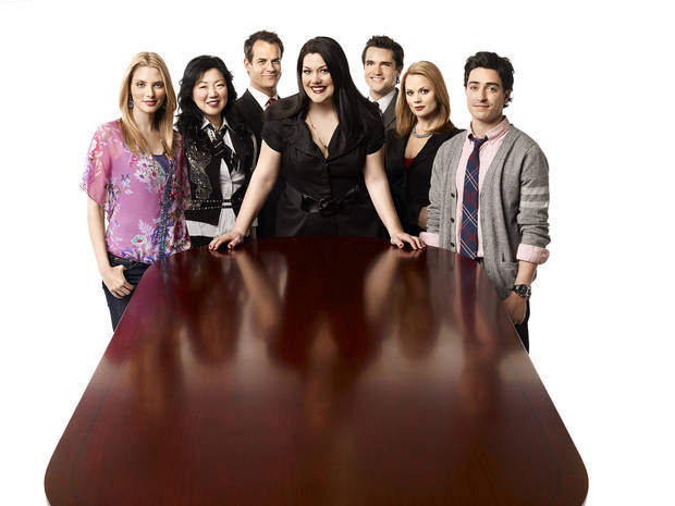 "The ""Drop Dead Diva"" cast: From left, April Bowlby, Margaret Cho, Josh Stamberg, Brooke Elliott, Jackson Hurst, Kate Levering and Ben Feldman. - Lifetime Television Photo"