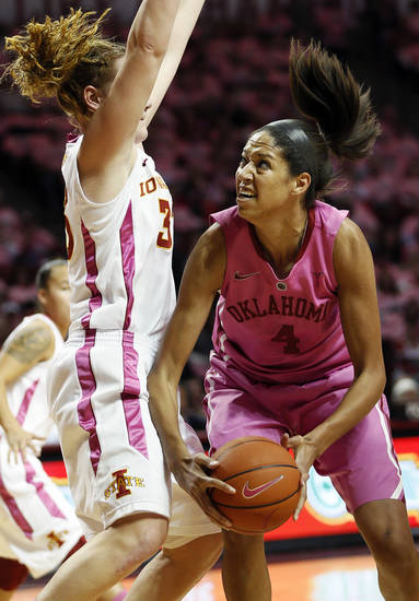 Oklahoma's Nicole Griffin (4) works against Iowa State's Chelsea Poppens (33) during an NCAA women's basketball game between the University of Oklahoma (OU) and Iowa State at the Lloyd Noble Center in Norman, Okla., Thursday, Feb. 14, 2013. Photo by Nate Billings, The Oklahoman