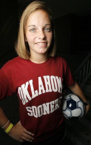Former soccer player Summer Grantham who will attend the University of Oklahoma (OU) poses for a photo at Norman High School in Norman, Okla., Thursday, July 24, 2008. BY NATE BILLINGS, THE OKLAHOMAN