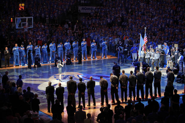 Teams and fans stand for the national anthem before Game 1 of the NBA Finals between the Oklahoma City Thunder and the Miami Heat at Chesapeake Energy Arena in Oklahoma City, Tuesday, June 12, 2012. Photo by Nate Billings, The Oklahoman