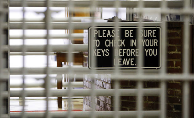 A sign in the exit of the Oklahoma State Penitentiary in McAlester, Okla., Wednesday, Dec. 7, 2011. Photo by Nate Billings, The Oklahoman