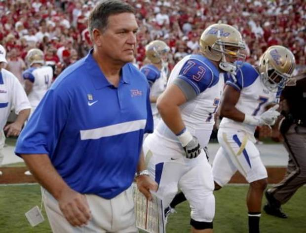 Tulsa coach Bill Blankenship takes the field with his team before the college football game between the University of Oklahoma Sooners ( OU) and the Tulsa University Hurricanes (TU) at the Gaylord Family-Memorial Stadium on Saturday, Sept. 3, 2011, in Norman, Okla. Photo by Bryan Terry, The Oklahoman ORG XMIT: KOD