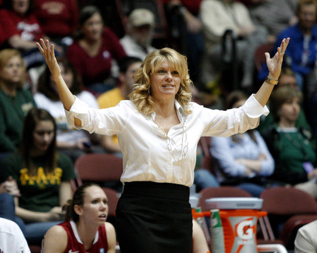 OU coach Sherri Coale reacts during the women's college basketball Big 12 Championship tournament game between the University of Oklahoma and Texas A&M in Kansas City, Mo., Friday, March 11, 2011.  Photo by Bryan Terry, The Oklahoman