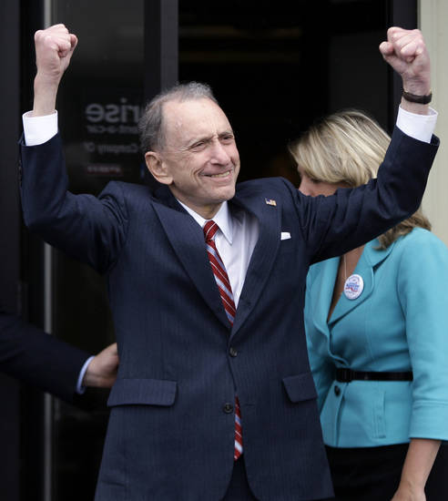 FILE - In this May 17, 2010 file photo, Sen. Arlen Specter, D-Pa. campaigns in New Cumberland, Pa. Former U.S. Sen. Arlen Specter, longtime Senate moderate and architect of one-bullet theory in JFK death, died Sunday, Oct. 14, 2012. He was 82. (AP Photo/Carolyn Kaster, File)
