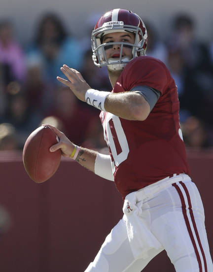 Alabama quarterback AJ McCarron (10) looks for a receiver during the first half of an NCAA college football game against Western Carolina at Bryant-Denny Stadium in Tuscaloosa, Ala., Saturday, Nov. 17, 2012. (AP Photo/Dave Martin)