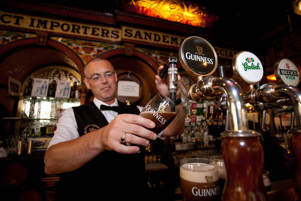 Never rush your bartender when he�s pouring a Guinness. It takes time. Photo by Dominic Bonuccelli
