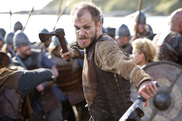 Floki (Gustaf Skarsgard) fighting in battle. Photo by Jonathan Hession / HISTORY Copyright 2011
