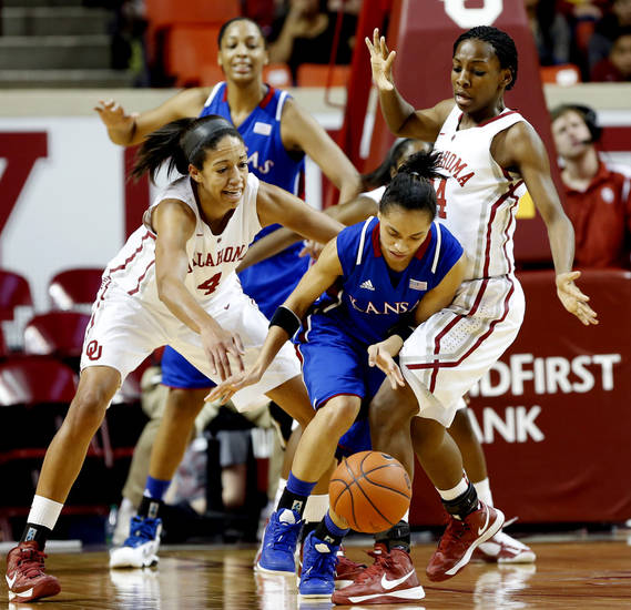 Oklahoma Sooner&#039;s Nicole Griffin (4) and Sharane Campbell (24) force a turnover by Kansas Jayhawks&#039; CeCe Harper (24) in the second half as the University of Oklahoma Sooners (OU) defeat the Kansas Jayhawks 85-77 in NCAA, women&#039;s college basketball at The Lloyd Noble Center on Saturday, March 2, 2013  in Norman, Okla. Photo by Steve Sisney, The Oklahoman