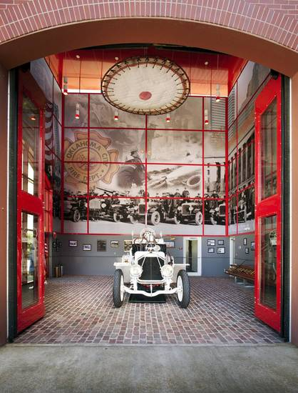 A mural of historic photos of the Oklahoma City Fire Department is part of the design of Bricktown Fire Station No. 6 at 21 N Lincoln, designed by LWPB Architecture. <strong> - PROVIDED BY JOSEPH MILLS PHOTOGR</strong>