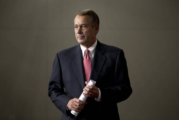 House Speaker John Boehner of Ohio arrives to meet with reporters on Capitol Hill in Washington, Thursday, Feb. 14, 2013.  (AP Photo/J. Scott Applewhite)