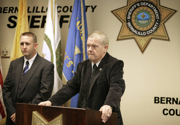 Bernalillo County Sheriff Dan Houston holds a news conference on the five person homicide on Sunday, Jan. 20, 2013. Authorities said a teenage boy fatally shot two adults and three children at a home near Albuquerque. (AP Photo/Albuquerque Journal, Pat Vasquez-Cunningham)