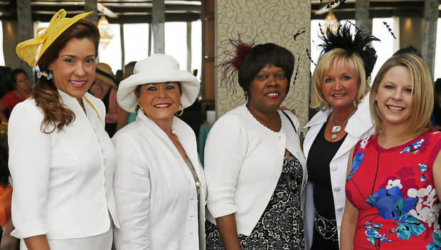 From left, Darla Zuhdi, Cheryl Clements, Rhonda Thomas, Cindy Sparkman and Tami Loch pose for a photo at the Women of the South's 3rd annual Magnolia Brunch in the Petroleum Club in Oklahoma City, Saturday, April 20, 2013. Photo by Nate Billings, The Oklahoman