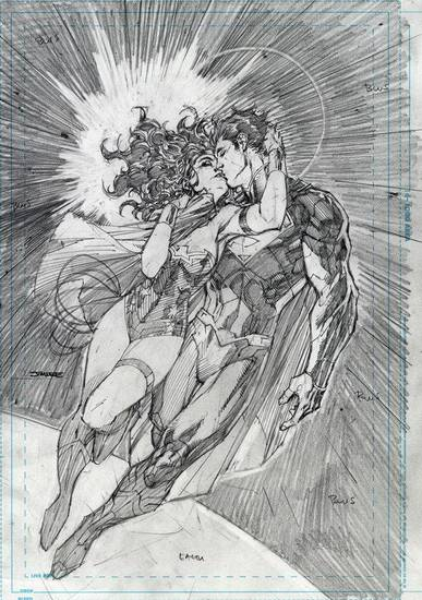 "Jim Lee's pencils for the second print of ""Justice League"" No. 12.  The second printing of the issue is set for Sept. 26 release. DC Comics. <strong></strong>"