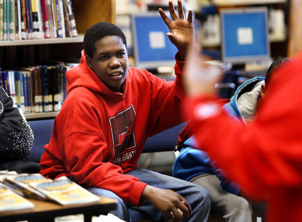 Paul Fitzpatrick, an eighth-grader at Western Heights Middle School, answers a question during a reading comprehension class as his school kicks off its One Kid Challenge. Photos by Steve Sisney, The Oklahoman