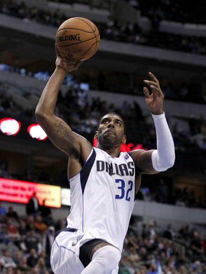 Dallas Mavericks' O.J. Mayo (32) prepares to dunk on a break away play against the Portland Trail Blazers in the second half of an NBA basketball game, Monday, Nov. 5, 2012, in Dallas. Mayo had a game-high 32points in the 114-91 Mavericks win. AP Photo/Tony Gutierrez)
