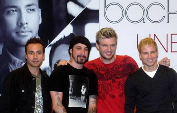 Members of the Backstreet Boys (from left) Howie Dorough, A.J. McLean, Nick Carter and Brian Littrell (AP photo by Lo Sai Hung)