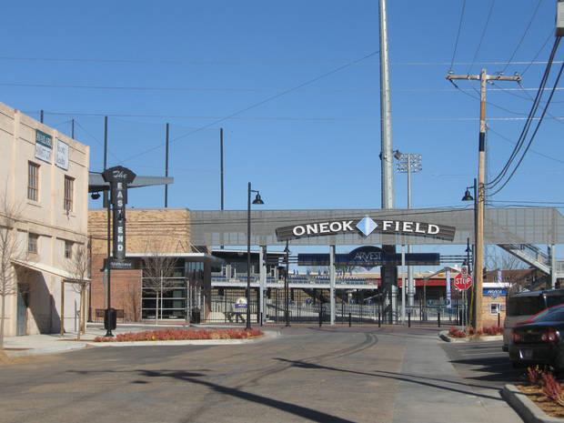 The entrance to Tulsa's new ONEOK Field is next door to the home of Wallace Engineering in the Brady District. <strong>Steve Lackmeyer</strong>