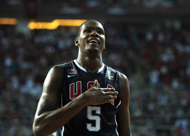 U.S. / UNITED STATES / USA BASKETBALL TEAM / REACTION: USA's Kevin Durant reacts during the final of the World Basketball Championship between Turkey and the USA, Sunday, Sept. 12, 2010, in Istanbul.  (AP Photo/Mark J. Terrill) ORG XMIT: ISTH188